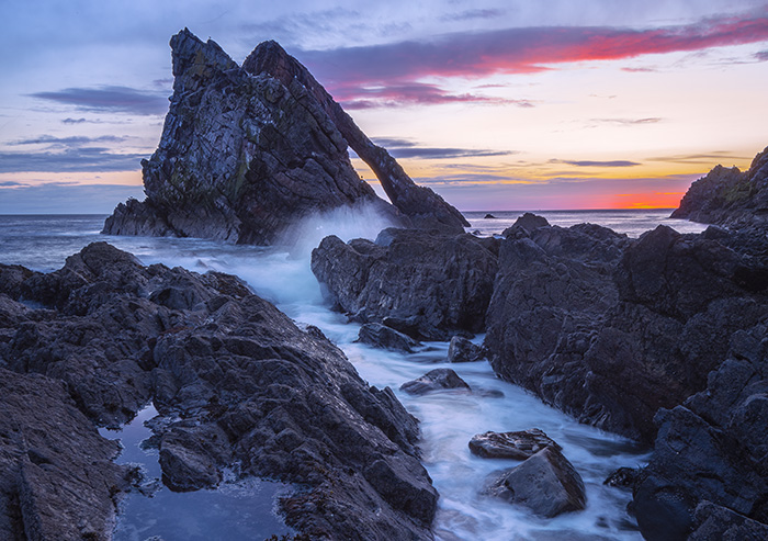 Bow Fiddle Rock, Moray Coast Scotland photo tour
